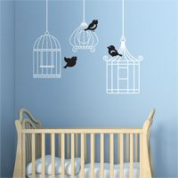 Six Little Birdies - Set of Three Birdcages with Birds - Birdcage Decals - Wall Decals