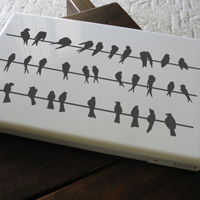 Tiny Birds on a Wire - Set of 3 - Laptop & Notebook Decals