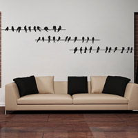 Birds Perched on the Wires - Wall Decals