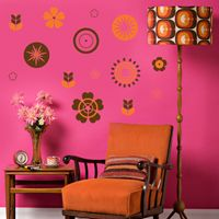 Abstract Retro Flowers - Wall Decals