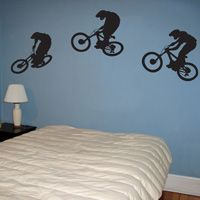 Downhill Mountain Bikers - Series of Three - Wall Decals