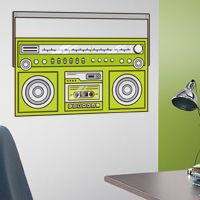 80s Style Retro Boombox - Printed Wall Decals