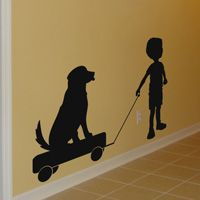 Little Boy Pulling Puppy on a Wagon - Silhouette - Wall Decals