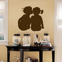 Little Boy Kissing the Little Girl - Aawwwww - Vinyl Wall Decals