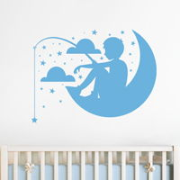 Boy Fishing on the Moon - Stars & Clouds - Wall Decals