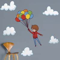 Boy Flying Away with Balloons - Printed Wall Decals