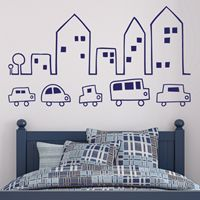Bustling Little Town - Wall Decals
