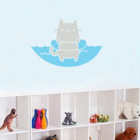 Cat in a Floatie - Wall Decals