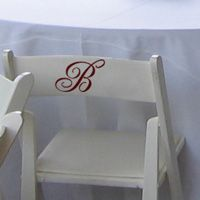 Wedding Reception Chair Monograms - Set of 8 - Wedding Decals