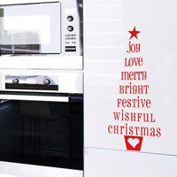 Christmas Tree Words - Joy Love Merry Festive - Holiday Wall Decals