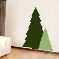 Christmas Tree Silhouettes - Set of 2 - Holiday Wall Decals