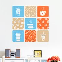 Coffee, Coffee, & More Coffee - Set of 9 - Wall Decals