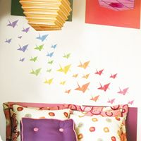 Colorful Origami Cranes - Printed Wall Decals