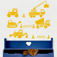 Kiddie Construction Vehicles - Wall Decals