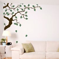 Hidden Corner Branch with Falling Leaves - Wall Decals