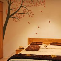 Corner Waving Tree with a Bird - Wall Decals
