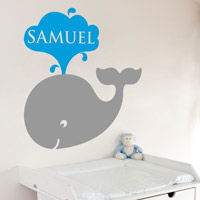 Cute Whale with a Water Spout - Personalized Monogram - Wall Decals