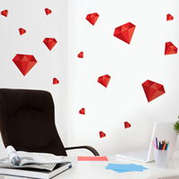 Diamonds - Set of 16 - Printed Wall Decals
