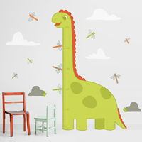 Friendly Dinosaur & Dragonflies Growth Chart - Printed Wall Decals