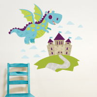 Dragon Adventures - Roaring Blue - Printed Wall Decals