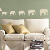 Elephants Walking in a Row - Set of 5 - Wall Decals