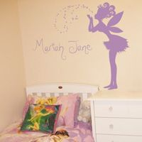 Magical Fairy Making a Wish - Personalized Monograms & Names - Wall Decals