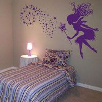 Fairy with a Magical Wand & Stars - Wall Decals