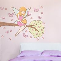 Fairy on a Branch with Butterflies - Printed Wall Decals