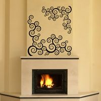 Swirls over Fireplace - Wall Decals