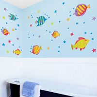 Colorful Fish, Starfish & Bubbles - Printed Wall Decals