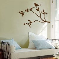 Five Birds Sitting in a Cherry Blossom Branch - Wall Decals