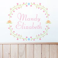 Floral Wreath - Personalized Monogram - Printed Wall Decals