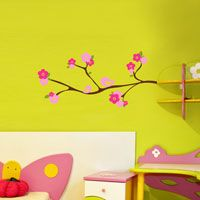 Flowers and Birds on a Branch - Wall Decals
