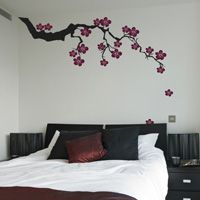 Exotic Sakura Branch with Falling Blossoms - Wall Decals
