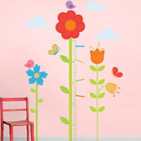 Tall Flower Garden Growth Chart - Printed Wall Decals