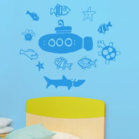 Submarine and Swimming Sea Life - Wall Decals