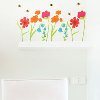 Spring Garden Flowers with Buzzing Bees - Printed Wall Decals