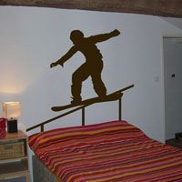 Snowboarder on the Rail - Wall Decals