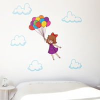 Girl Flying Away with Balloons - Printed Wall Decals