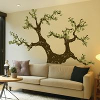 Gnarled Knotted Tree with Leaves - Wall Decals