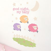 Pink Counting Sheep - Good Night, My Baby - Printed Wall Decals