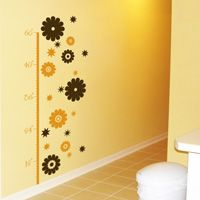 Growth Chart - Daisies and Stars - Wall Decals