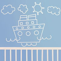 Cute Hand Drawn Boat - Wall Decals
