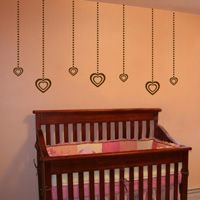 Hanging Hearts - Set of 11 - Wall Decals