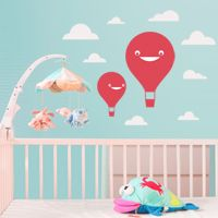 Happy Air Balloons with Clouds - Set of 2 - Wall Decals