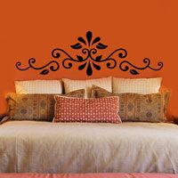 Swirling Henna Headboard - Wall Decal