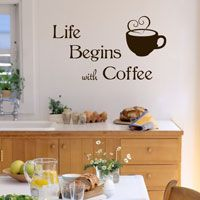 Life Begins with Coffee - Wall Words - Quote Decals