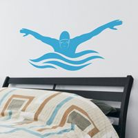 Butterfly Stroke - Male Swimmer - Wall Decals