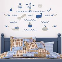 Mini Out To Sea Set - Printed Wall Decals
