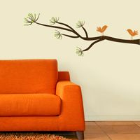 Mod Tree Branch with Two Mod Birds - Wall Decals
